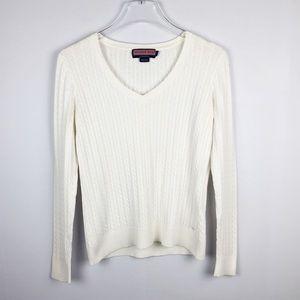 Vineyard Vines | White Cable-Knit V-Neck Sweater